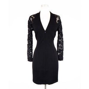 Tadashi Black Zip Front Lace Sleeve Back Dress M